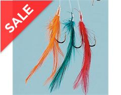 3 Colour Feathered Hooks x 6