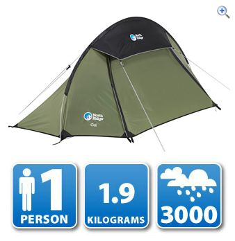 North Ridge Col 1 Person Backpacking Tent - Colour: Green