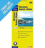 &#39;TOP 100&#39; Series: 115 Rennes / St-Malo Folded Map