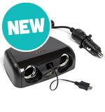 Twin 12V, USB 2A &amp; Micro USB Can Multisocket Charger