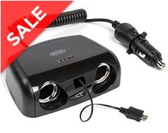 Twin 12V, USB 2A & Micro USB Can Multisocket Charger