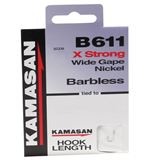 B611 Barbless Hook to Nylon, Size 18, pack of 8
