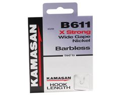 B611 Barbless Hook to Nylon, Size 22, pack of 8