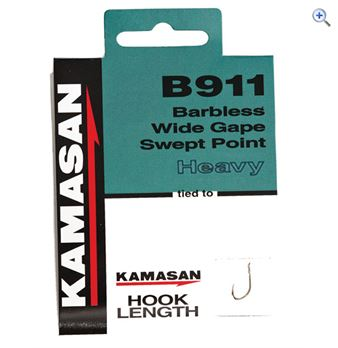 Kamasan B911 Barbless Heavy Hook To Nylon Size 18 pack of 10