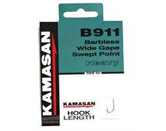 B911 Barbless Heavy Hook To Nylon, Size 14, pack of 10