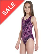 Girls' Monogram Allover Splashback Swimsuit
