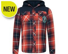 Lumberjack Long Sleeve Kids' Hooded Shirt (Sizes 7-12)
