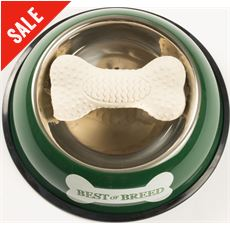 Tin Dog Bowl & Rubber Bone