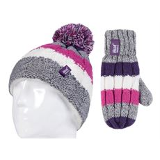 Kids' Cable Turn Over Hat and Mittens (Age 3-6 Years)