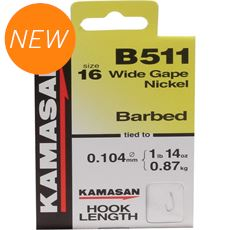 B511 Barbed Hooks To Nylon Size 24 10pk