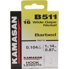 B511 Barbed Hooks To Nylon Size 22 10pk