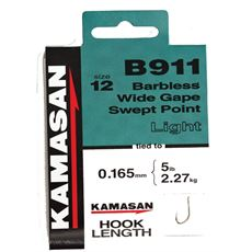 B911 Heavy Barbless Hooks To Nylon Size 16 10pk
