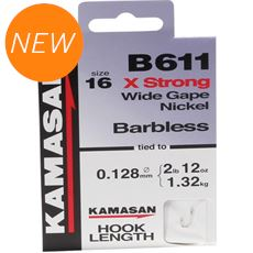 B611 XStrong Barbed Hooks To Nylon Size 20 10pk
