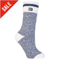 Ladies Cream Block Twist Socks