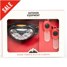 Head Torch & Clip Lights Set