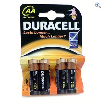 Duracell MN1500 size AA Batteries  Colour Black